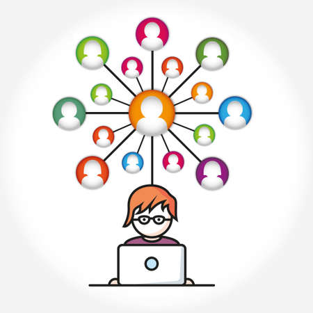 computers network: Social Media, people with computers network vector illustration