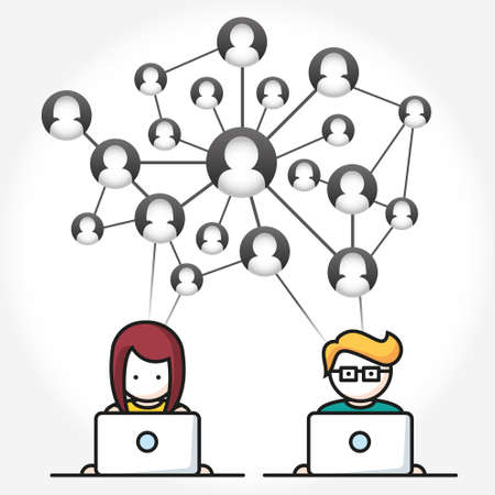 average guy: Social Media, people with computers network vector illustration