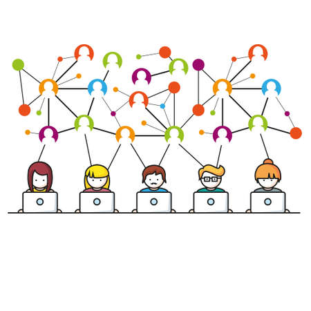 computers network: Social Media network vector illustration People with Computers