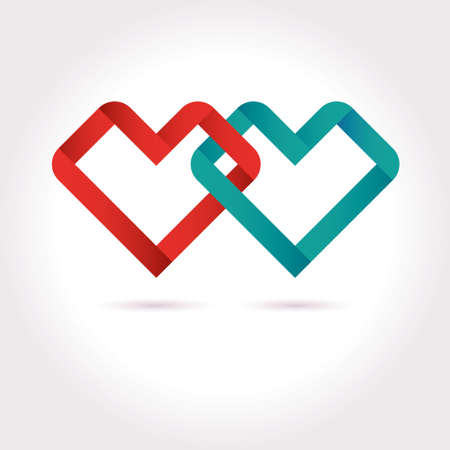Vector Hearts Tied Ribbon Origami Design Template. Valentine day icon