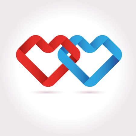 tied: Vector Hearts Tied Ribbon Origami Design Template. Valentine day icon