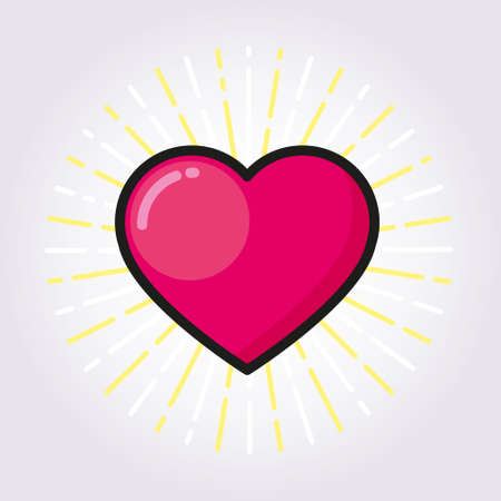 heart outline: Heart outline color, icon, modern minimal flat design style. Love colored line symbol, vector illustration Illustration
