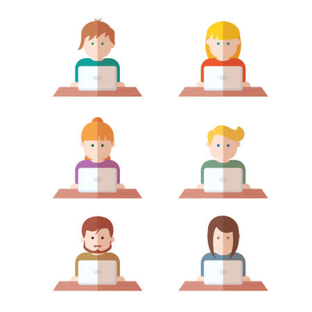 skinny: Set of people with computer icons avatar