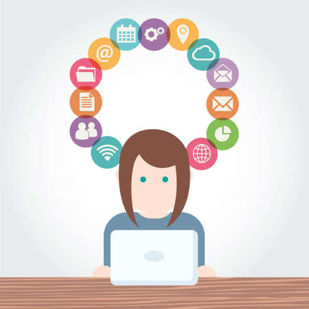 Social Media network vector illustration People with Computers