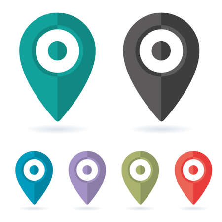 Set Color vector icons maping pin location