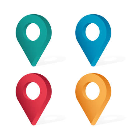 Set Color maping location pin 3d icons
