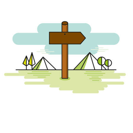 Wooden sign shaped like an arrow on a path mountains Illustration