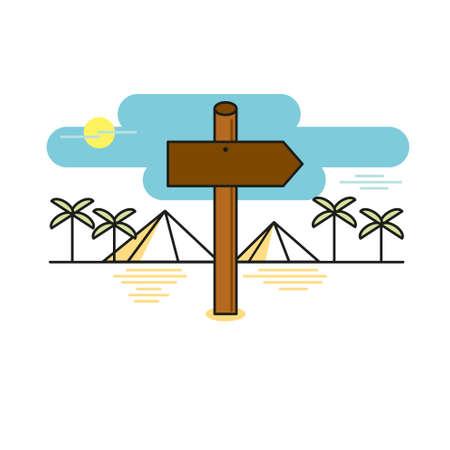 Wooden sign shaped like an arrow on desert path