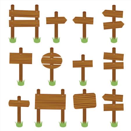 wooden plaque: Wooden signs vector set