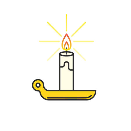 paraffin: Candle icon. Burning candle thin line illustration