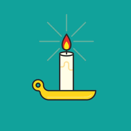 Candle icon. Burning candle thin line illustration