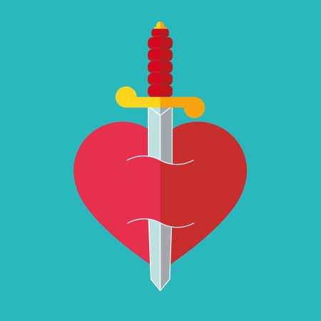 Heart with dagger icon illustration Illustration