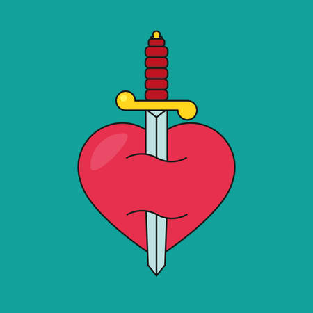 anguish: Heart with dagger icon illustration Illustration