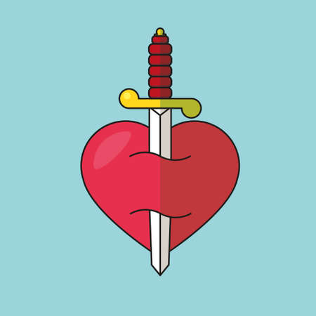 Heart with dagger icon illustration Illustration
