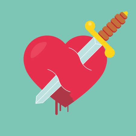 sword and heart: Heart with dagger icon illustration Illustration