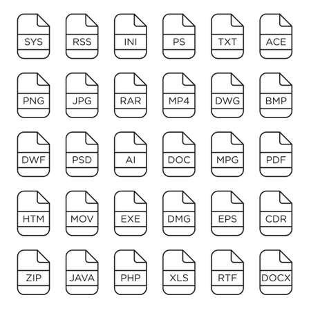 avi: icon set of file extensions