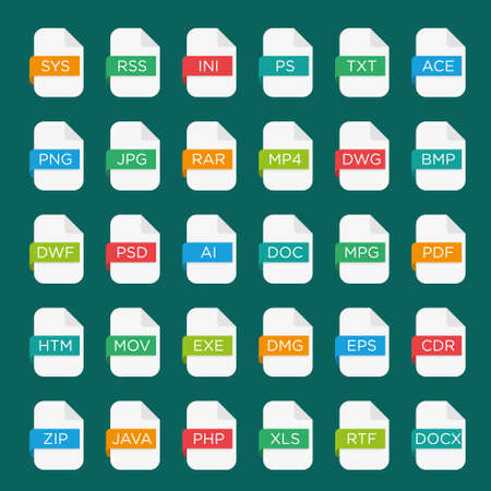 mov: icon set of file extensions
