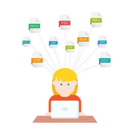 extensions: File extensions illustration people with computers