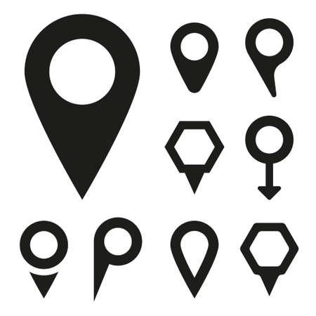 internet mark: black map pointer icons set on white background