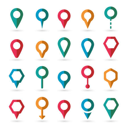 road position: Vector colorful map pointer icons set on white background Illustration