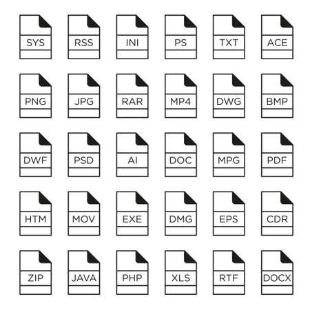 mov: Vector icon set of file extensions