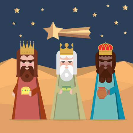 wise men: The three Kings of Orient wise men illustration