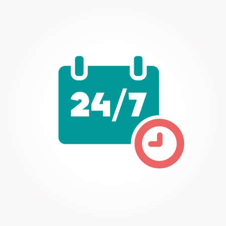 days of the week: Open 24 hours day and 7 days week icon