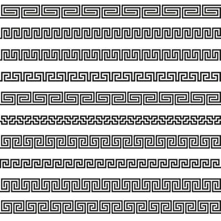 ancient roman: Greek borders in September ornament different patterns Illustration
