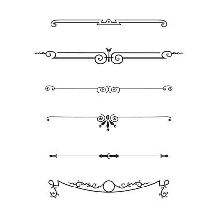 dashes: Vector set of calligraphic design elements and page decor