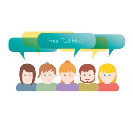 teammates: Group of people communication illustration