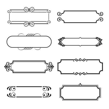 calligraphic design: Calligraphic decorative elements. Set of design elements.