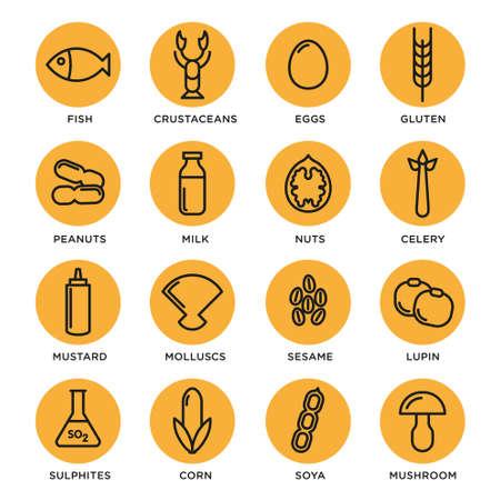 allergen: Allergen vector icons set. Food allergens symbols emblems signs collection