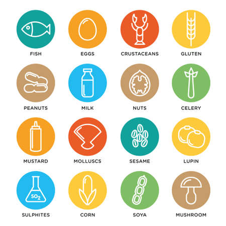 Allergen vector icons set. Food allergens symbols emblems signs collection