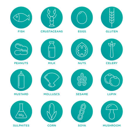 allergens: Allergen vector icons set. Food allergens symbols emblems signs collection