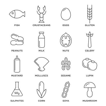 Allergen vector icons set. Food allergens symbols emblems signs collection