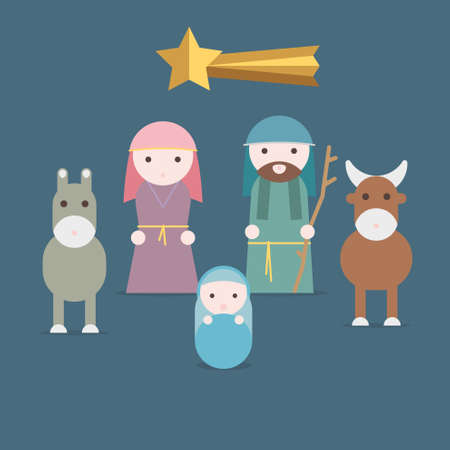 creche: Nativity scene vector illustration