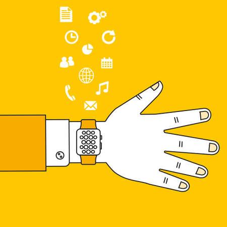 hand wear: Hand wear smart watch technology with flat design