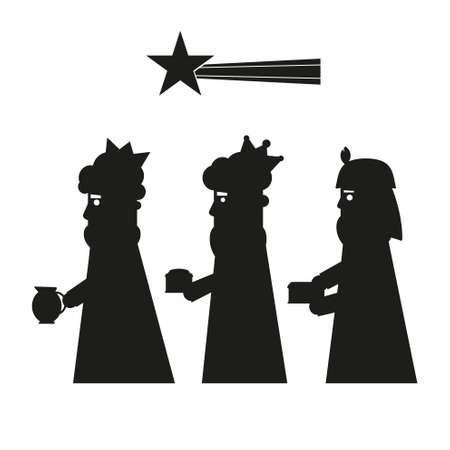 Drie koningen of drie wijzen silhouet. Kerstmisnativity vector illustratie.