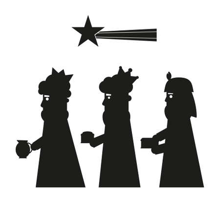 Three kings or three wise men silhouette. Christmas nativity vector illustration.
