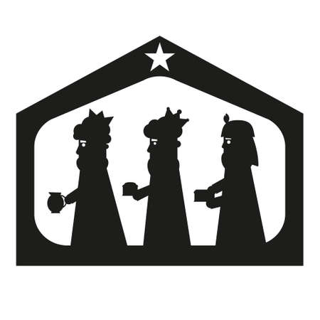frankincense: Three kings or three wise men silhouette. Christmas nativity vector illustration. Illustration