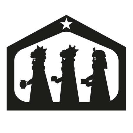 adoration: Three kings or three wise men silhouette. Christmas nativity vector illustration. Illustration