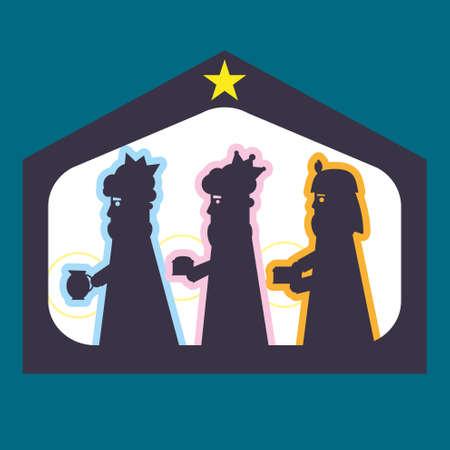 Three kings or three wise men silhouette. Christmas nativity vector illustration. Ilustração Vetorial