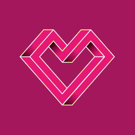 forme geometrique: Coeur abstrait géométrique Jour de shapes.Valentine impossible. illustration vectorielle