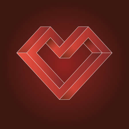 impossible: Heart abstract geometric impossible shapes.Valentines Day. vector illustration