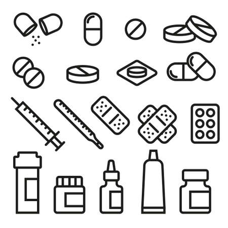 an injector: Set of Pills -Vector Variable Icons Line- Illustration