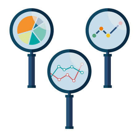 magnifying: Set icons business analysis with magnifying glass symbol
