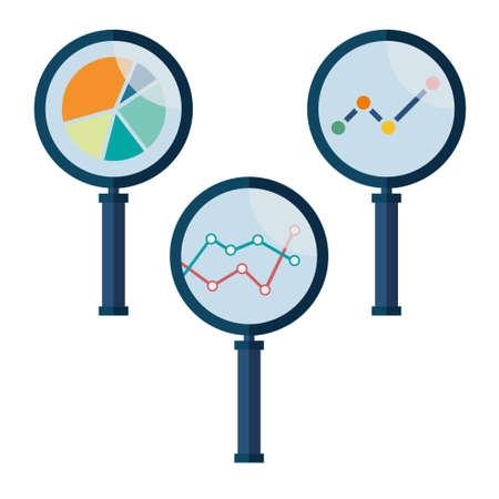Stellen Sie Ikonen Business-Analyse mit Lupe Symbol Vektorgrafik