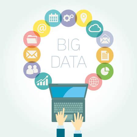 Analyst Big data icons vector illustration