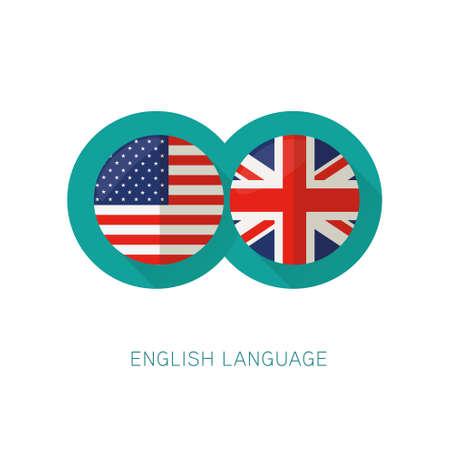 flags usa: Ingls Language icon USA UK flags