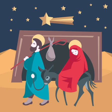 flee: Mary and Joseph flee to Egypt Nativity Jesus Illustration